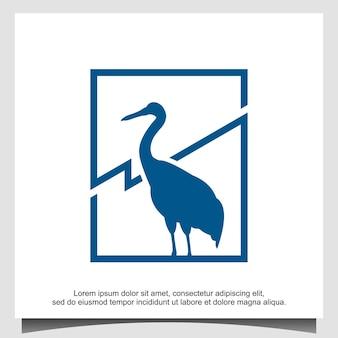 Modèle de conception de logo d'oiseau cigogne