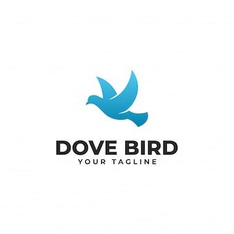Modèle de conception de logo d'oiseau colombe volante moderne