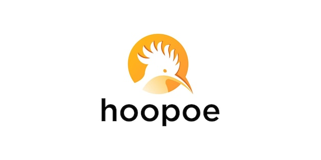 Modèle de conception de logo d'oiseau huppe fasciée