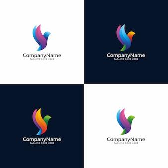 Modèle de conception de logo oiseau moderne.