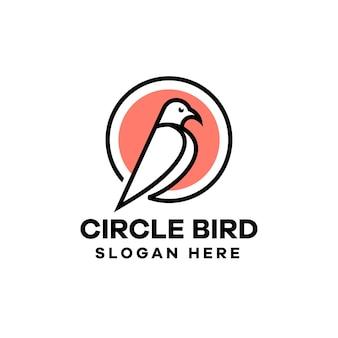 Modèle de conception de logo oiseau monoline