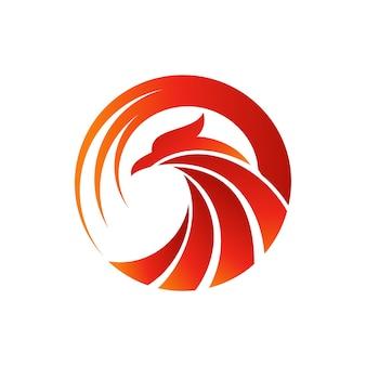 Modèle de conception de logo oiseau phoenix
