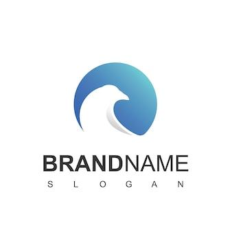 Modèle de conception de logo d'oiseau de silhouette de cercle