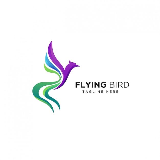 Modèle de conception de logo oiseau volant