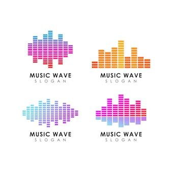 Modèle de conception de logo onde sonore