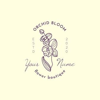 Modèle de conception de logo d'orchidée dans un style linéaire minimal simple. emblème floral de vecteur et icône pour fleuriste.