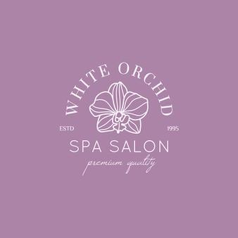 Modèle de conception de logo d'orchidée dans un style linéaire minimal simple. emblème floral de vecteur et icône pour salon de beauté, spa.