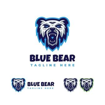 Modèle de conception de logo ours bleu