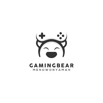 Modèle de conception de logo d'ours de joueur