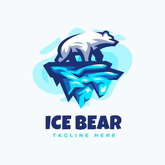 Modèle de conception de logo d'ours polaire de glace