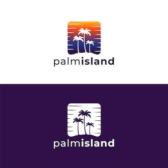Modèle de conception de logo de palmier rétro vintage tropical