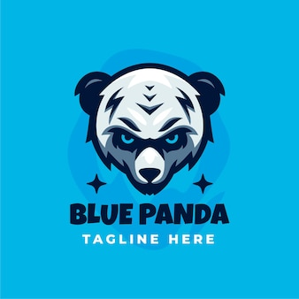 Modèle de conception de logo panda bleu