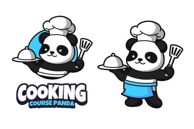 Modèle de conception de logo de panda de cuisine