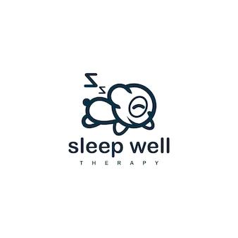 Modèle de conception de logo de panda du sommeil pour la société de thérapie du sommeil.