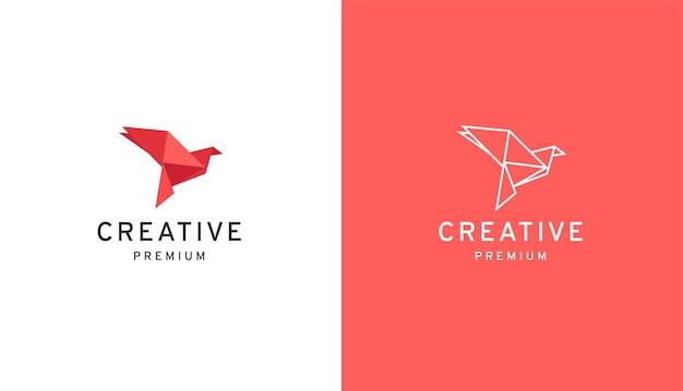 Modèle de conception de logo papier oiseau low poly