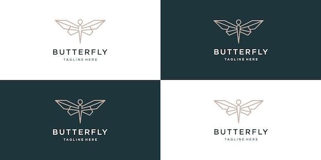 Modèle de conception de logo papillon élégant