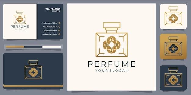 Modèle de conception de logo de parfum de luxe doré avec carte de visite