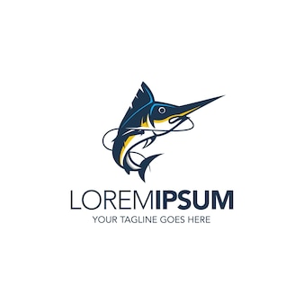 Modèle de conception de logo de pêche marlin