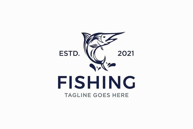 Modèle de conception de logo de pêche