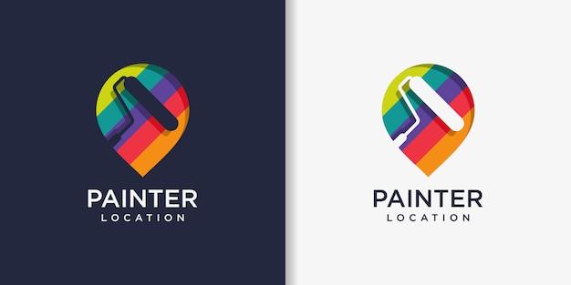 Modèle de conception de logo de peintre, peinture, service, réparation, emplacement, épingle