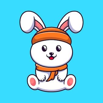 Modèle de conception de logo de personnage de lapin mignon