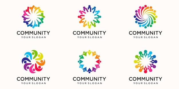 Modèle de conception de logo de personnes abstraites