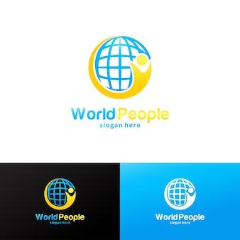 Modèle de conception de logo de personnes du monde