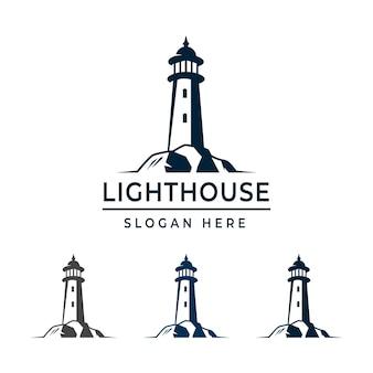 Modèle de conception de logo de phare avec une couleur d'option