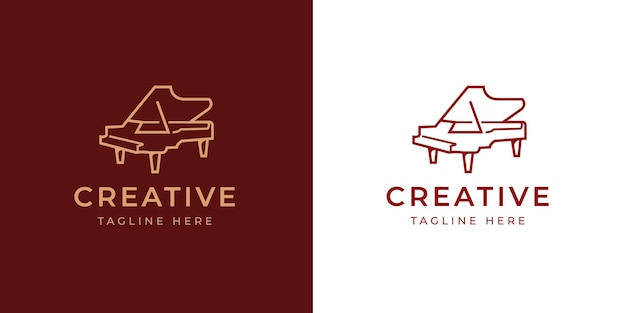 Modèle de conception de logo de piano à queue élégant