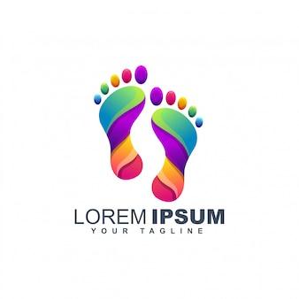 Modèle de conception de logo pied coloré