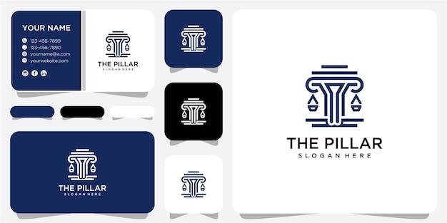 Le modèle de conception de logo de pilier. logo du cabinet d'avocats. inspiration de conception de logo de justice avec carte de visite