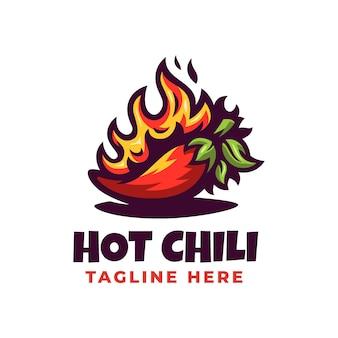 Modèle de conception de logo de piment rouge chaud
