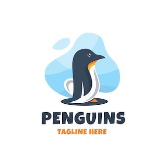 Modèle de conception de logo de pingouins colorés modernes
