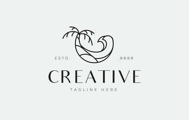 Modèle de conception de logo de plage d'été