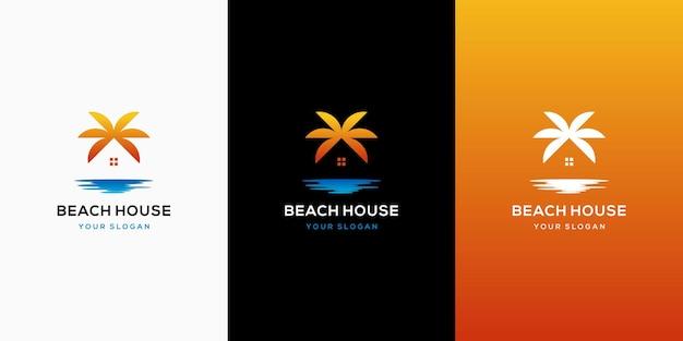 Modèle de conception de logo de plage à la maison