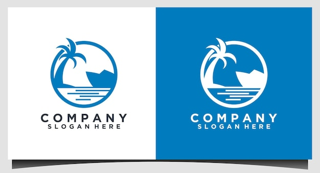 Modèle de conception de logo de plage et de navire