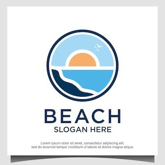 Modèle de conception de logo de plage océan