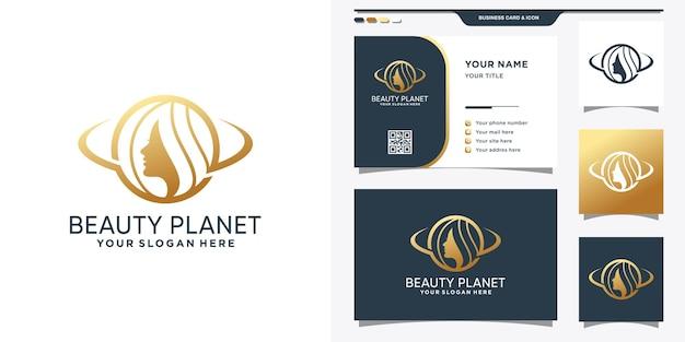 Modèle de conception de logo de planète beauté avec visage de femme et conception de carte de visite