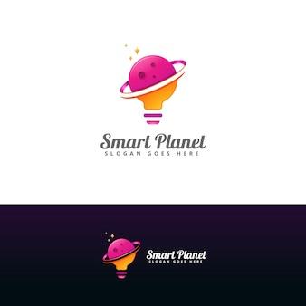 Modèle de conception de logo de planète intelligente