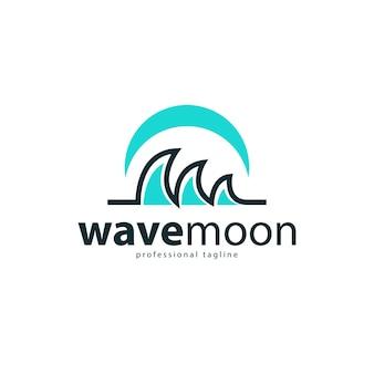 Modèle de conception de logo plat vague et lune
