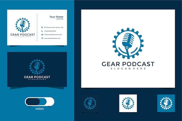 Modèle de conception de logo de podcast gear et carte de visite