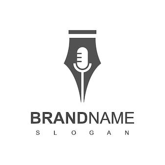 Modèle de conception de logo de podcast de journaliste
