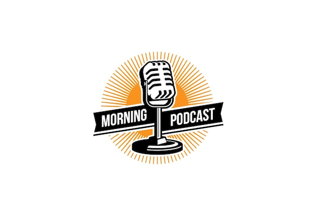 Modèle de conception de logo podcast microphone micro et illustration du lever du soleil