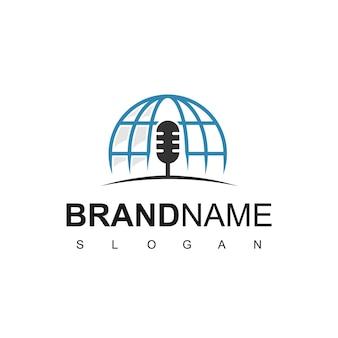 Modèle de conception de logo de podcast mondial