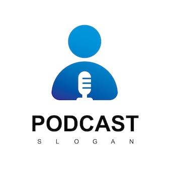Modèle de conception de logo de podcast de personnes