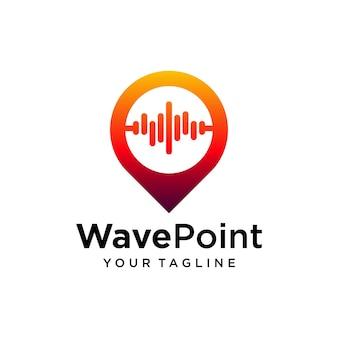 Modèle de conception de logo de point d'onde