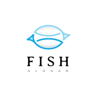 Modèle de conception de logo de poisson boutique de restaurant de fruits de mer et icône de pêche