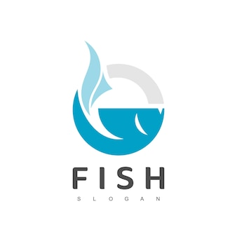 Modèle de conception de logo de poisson, logotype de restaurant de fruits de mer, icône de ferme piscicole
