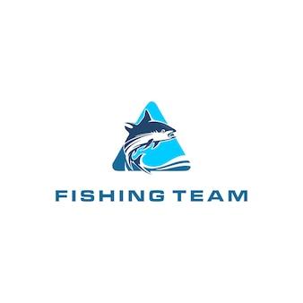 Modèle de conception de logo de poisson et de pêche premium vecteur premium