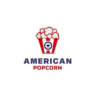 Modèle de conception de logo de pop-corn américain